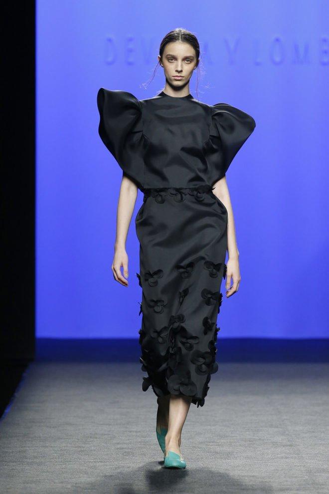 Falda negra organza de seda