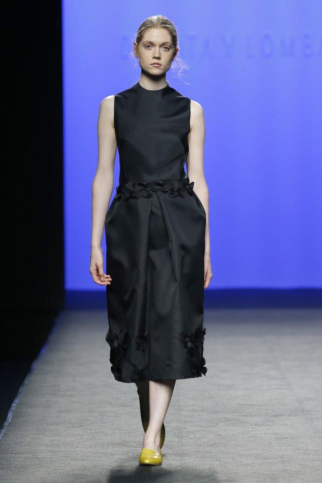 Vestido negro organza de seda