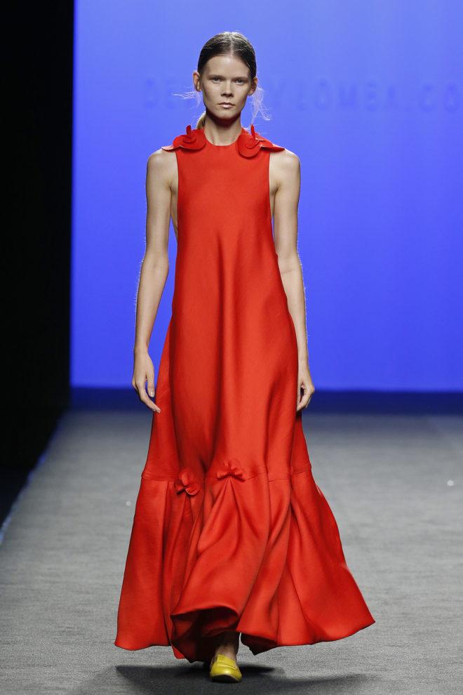 Vestido rojo organza de seda