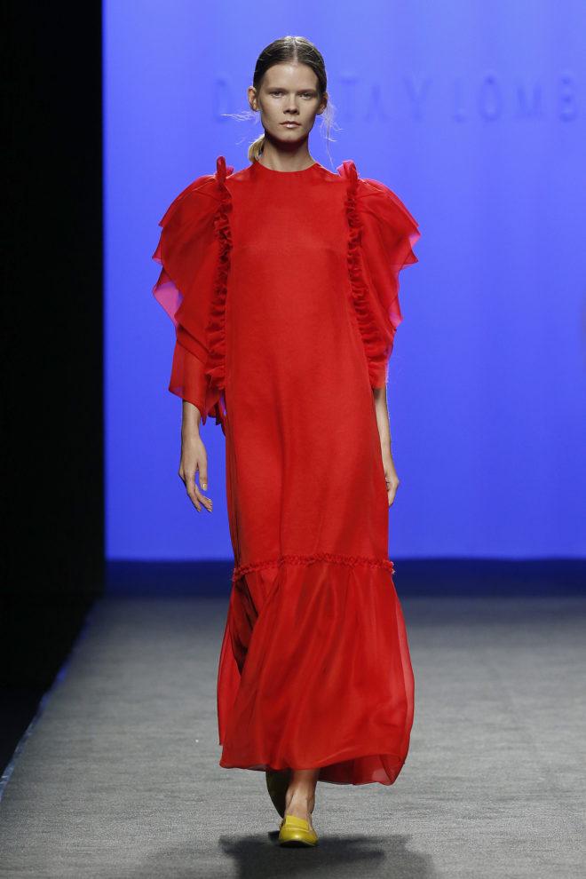 Vestido largo rojo gasa de seda