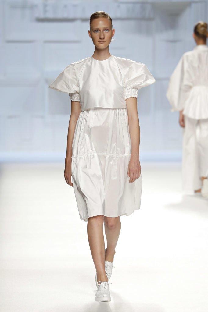 Falda blanca tafetán seda